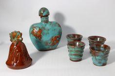 Vintage Turquoise Glaze Stoneware Pottery by DeeSweetNostalgia