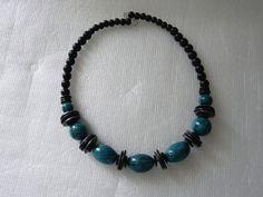 Collier perles turquoise craquelées - argile polymère