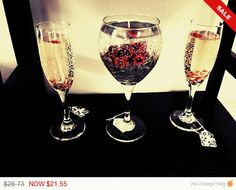 Christmas Sale Wine Glass Candle Set, Includes Chardonnay and Wine& Rose Scents.
