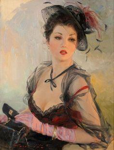 Constantin RAZOUMOV (Né en 1974) Portrait de jeune femme au chapeau Huile sur toile, signée en bas à gauche 35.5 x 27 cm  - Aguttes - 14/02/2017