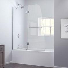 Shop for DreamLine Aqua 48x58-inch Frameless Hinged Tub Door. Get free delivery… Tub Shower Doors, Bathtub Doors, Bathtub Shower, Frameless Shower, Bathtub With Glass Door, Shower Window, Glass Doors, Small Bathroom, Master Bathroom