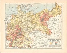 Antique map: Jews spread in germany 1897 // by KuriosartAntique Antique Maps, Antique Prints, Vintage Illustration, Paper Size, Printing Process, Really Cool Stuff, Etsy Store, Vintage World Maps, Germany