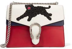 Gucci - Dionysus Medium Appliquéd Leather Shoulder Bag - White