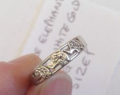 9ct White Gold - Triple Elephant - Ring - Size P