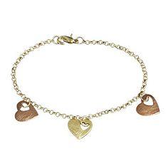 Pulseira dourada 3 corações