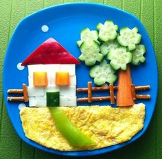 House with food for children Haus mit Essen für Kinder Cute Snacks, Cute Food, Good Food, Kids Food Crafts, Food Art For Kids, Creative Food Art, Food Carving, Kids Menu, How To Eat Better