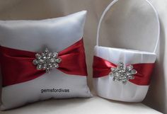 Brooch Wedding Flower Girl Basket & Ring Bearer Pillow Red and White Satin Ribbon Gems, Wedding Ceremony Wedding Ceremony - Rose Petals by NicksBridal on Etsy https://www.etsy.com/listing/215920697/brooch-wedding-flower-girl-basket-ring