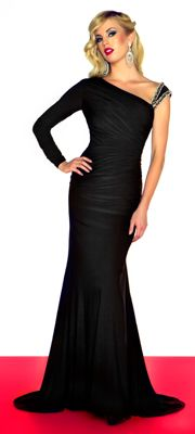 Mac Duggal Prom 2013- Black One Shoulder Gown With Embellishments - Unique Vintage - Cocktail, Pinup, Holiday & Prom Dresses.