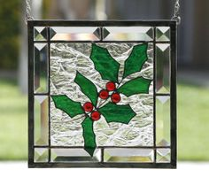 WINTER HOLLY  Clear Stained Glass Window Panel by gallerydelsol, $98.00