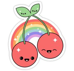 super cute rainbow cherry stickers with happy faces!