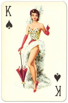 King of spades Van Genechten Glamour Girls pinup cards – Playing Cards Top 1000 Pin Up Girl Vintage, Retro Pin Up, Retro Art, Playing Cards Art, Vintage Playing Cards, Pin Up Illustration, Illustrations, King Of Spades, Pin Up Drawings