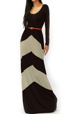 Scoop Neck Striped Maxi Khaki Dress 16.00