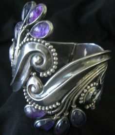 Cuff | Margot de Taxco.  Sterling Silver and amethyst.  c. 1950s. Taxco / Mexican