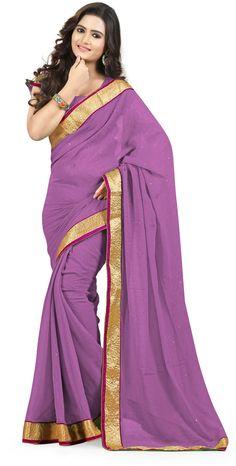 #Fashion #Sari #Chiffon #Saree #Lavender #Purple