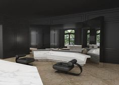 Joseph Dirend | #blackinterior #blackwalls #livingroom