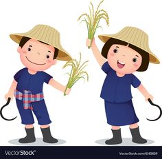 Profession costume of Thai farmer for kids vector image on VectorStock Happy Cartoon, Cute Cartoon, Monster Coloring Pages, Halloween Frames, School Clipart, Origami Dragon, Kids Vector, Preschool Learning Activities, Kids Ride On
