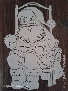 Украшение Новый год Вырезание новогодние окошки Бумага фото 7