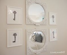 Thrift store mirrors painted white… this woman has similar tastes as I do. Obsessed