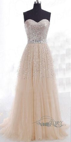 Shiny Tulle Party Dress, A-Line Party Dress, Beads Online, Cheap Prom Dress,Prom…