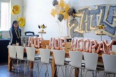 "Hip Hip Hooray party table from a ""Hip Hop Hooray"" Old School Rapper Birthday Party""Hip Hop Hooray"" Old School Rapper Birthday Party on Kara's Party Ideas 