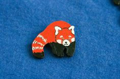 Red panda wood painted brooch badge firefox pin animal