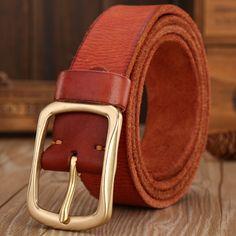 solid brass buckle 2017 full grain 100% genuine leather mens belts luxury hot designer belt men high quality womens cowboy brown