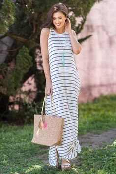 """""""Loved You All Along Maxi Dress, Blue-White"""""""