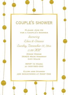 """Gold foil beads modern wedding couple's shower invitation. Size: 5"""" x 7"""" Make custom invitations and announcements for every special occasion! Choose from twelve unique paper types, two printing options and six shape options to design a card that's perfect for you. Size: 5"""" x 7"""" (portrait) or 7"""" x 5"""" (landscape) Standard white envelope included Add photos and text to both sides of this flat card at no extra charge Use the """"Customize it!"""" CLICK IMAGE FOR MORE DETAILS. Couples Wedding Shower Invitations, Wedding Couples, Custom Invitations, Colored Envelopes, White Envelopes, I Do Bbq, Couple Shower, Envelope Liners, Gold Foil"""