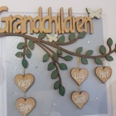 Personalised Grandparents Gift, Customised Grandparent Gift, Gift from Grandchildren, Grandparents Christmas Box Frames, Family Tree Frame, New Grandparents, White Box Frame, Grandparent Gifts, Wooden Hearts, Baby Girl Gifts, Wooden Letters, Thank You Gifts