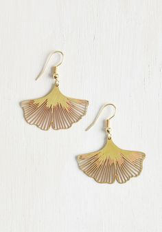 Ginkgo a Long Way Earrings. When you have earrings as dazzling as this dangling pair, theyre sure to get a lot of wear! #gold #modcloth