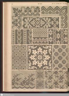 - Der Bazar - Page - Digitale Sammlungen - Digital Collections Biscornu Cross Stitch, Cross Stitch Borders, Cross Stitch Charts, Cross Stitch Designs, Cross Stitching, Cross Stitch Embroidery, Hand Embroidery Design Patterns, Weaving Patterns, Cross Stitch Patterns