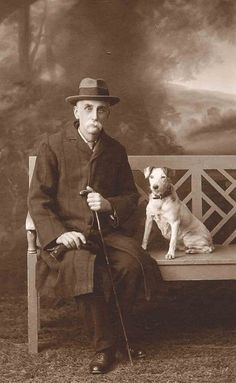 Bench by Libby Hall Dog Photo, via Flickr. Vintage photo, old gentleman and his dog on a bench.