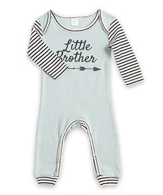 Another great find on #zulily! Sea Green & Black Stripe-Sleeve 'Little Brother' Romper - Infant #zulilyfinds