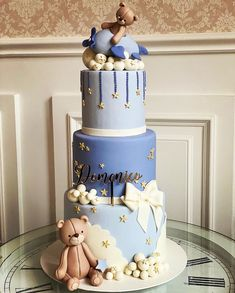 Gateau Baby Shower, Baby Shower Sweets, Baby Shower Deco, Baby Shower Cakes For Boys, Boy Baby Shower Themes, Baby Shower Balloons, Modern Birthday Cakes, Boys First Birthday Cake, Baby Birthday Cakes