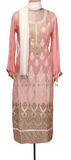 Buy Online from the link below. We ship worldwide (Free Shipping over US$100) http://www.kalkifashion.com/pink-semi-stitched-suit-adorn-in-resham-and-zari-embroidery-only-on-kalki.html