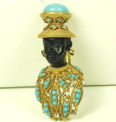 Vintage Ciner Enameled Blackamoor Man Pin, gold plated,900$