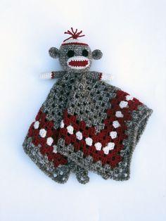 Sock Monkey Crochet Lovey Blankets | Sock Monkey Lovey - CROCHET PATTERN - blankey, blankie, security ...