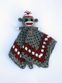 Sock Monkey Crochet Lovey Blankets | Sock Monkey Lovey - CROCHET PATTERN - blankey, blankie, security ...