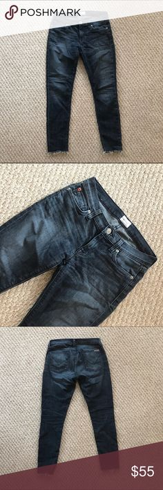 Hudson Krista Ankle Skinny Jean 25 Ankle skinny jeans with fun raw hem. Dark wash. Run a little big. Excellent condition. Barely worn. Hudson Jeans Jeans Ankle & Cropped