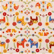 off-white oxford Dala horse fabric Cosmo Japan