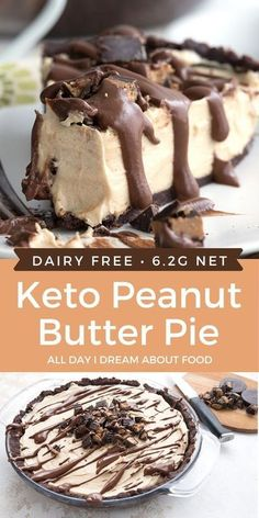 4 reviews · 25 minutes · Vegetarian Gluten free · Serves 12 · Creamy and rich, this Keto Peanut Butter Pie is completely dairy-free too! A low carb dessert for peanut butter lovers. Carb Free Desserts, Dairy Free Keto Recipes, Dairy Free Low Carb, Ketogenic Desserts, Low Carb Sweets, Keto Snacks, Dessert Recipes, Dairy Free Cakes, Carb Free Snacks