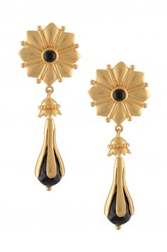 Silver Gold Plated Hanging Onyx Floral Earrings