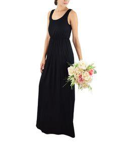 Look what I found on #zulily! Black Elastic-Waist Maxi Dress #zulilyfinds