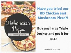 Get the RD Chicken and Mushroom free when you buy a triple decker pizza :) Pizza Special, Mushroom Pizza, Pizza Pizza, Have You Tried, Stuffed Mushrooms, How To Get, Chicken, Stuff To Buy, Free