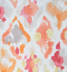 Watercolor inspired fabric in peachy melon, cantaloupe with a hint of marsala wine. In stock by the yard at www.tonicliving.com