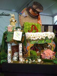one of the organizations made sculptures based on popular children's books. this is the alice in wonderland display.