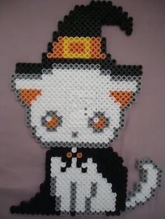 spooky witch kitty halloween perler beads by perlerhime on deviantart