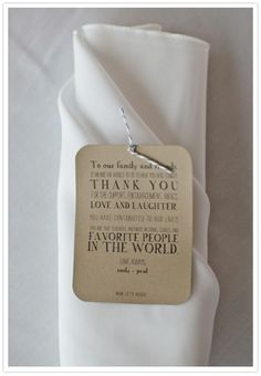 Accent wedding napkins with kind words to friends and family