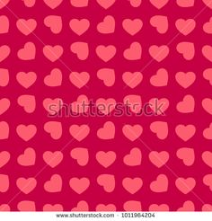 Valentines day background. Vector seamless pattern with small pink rotated hearts on red backdrop. Abstract repeat geometric texture. Love romantic theme. Design for decor, wedding, covers, textile