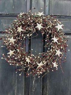 Items similar to Primitive Christmas Front Door Wreath - Pip Berry Wreath - Rustic Door Wreath - Pip Berry - Christmas Wreaths - Holiday Wreath - Rustic Star on Etsy Primitive Christmas, Noel Christmas, Rustic Christmas, Winter Christmas, Christmas Crafts, Handmade Christmas, Primitive Wreath, Classy Christmas, Primitive Decor